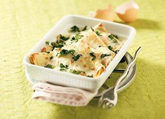 Crêpes con ricotta, spinaci e fonduta al taleggio